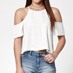 Kendall & Kylie White Cropped Cold Shoulder Top
